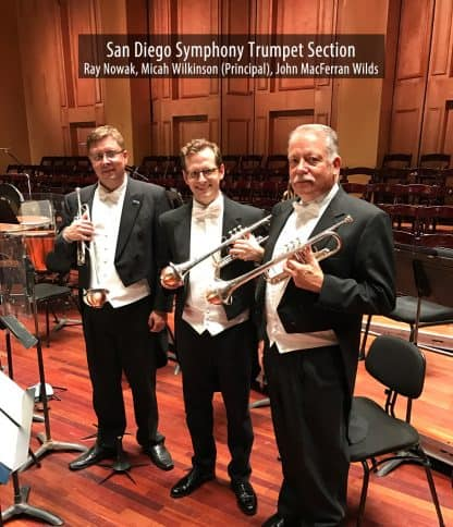 San Diego Symphony trumpeters with their Soulo Mute Copper Bottom Straight mutes